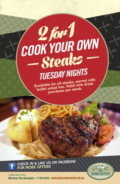 2 FOR 1 CYO STEAKS – TUESDAY
