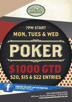 POKER – MONDAY, TUESDAY & WEDNESDAY NIGHTS