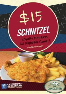 $15 SCHNITZELS ALL NIGHT FOR GAME 3